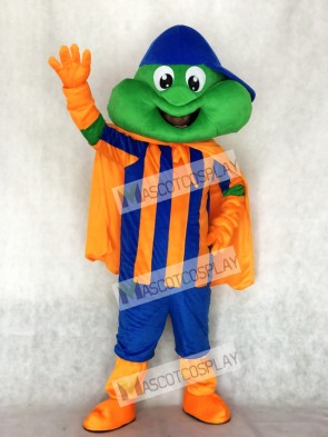 Happy Frog with Blue Hat and Orange Cape Mascot Costume Animal