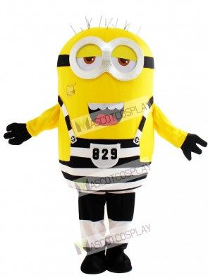 Two Half Open Eyes Minion in Prison Despicable Me Mascot Costume