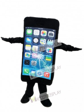 Black Cell Phone Apple iPhone with Crack Screen Mascot Costume For Promotion