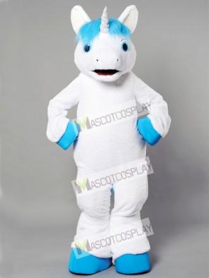 Unicorn With Blue Mane Mascot Costume