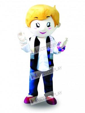 Yello Hair Vest Boy Mascot Costume