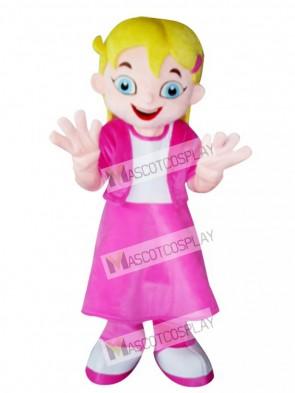 Yellow Hair Girl in Pink Dress Mascot Costume Cartoon Animal