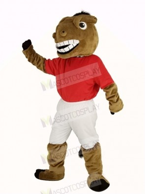 New Central's Buddy Broncho Horse in Red Jersey Mascot Costume