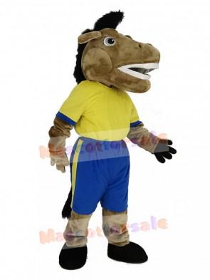 Broncho Horse in Yellow T-Shirt Mascot Costume