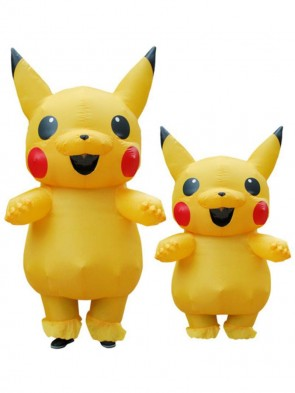 Yellow Pikachu Inflatable Costume Air Blow up Cosplay Jumpsuit for Adult/Kid