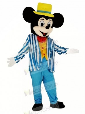 Mickey Mouse with Blue Coat Mascot Costume Cartoon
