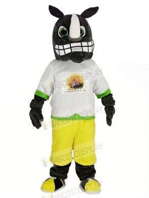 Gray Rhino with the Sweatshirt Mascot Costume Animal