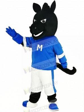 Black Horse in Blue Mascot Costume Animal