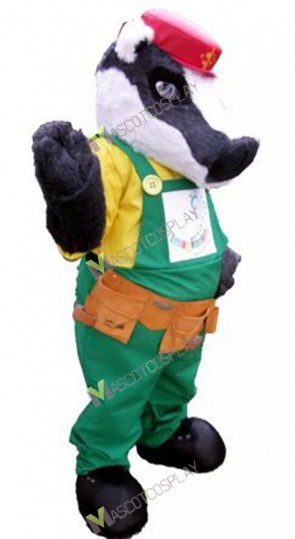 Gray Badger Mascot Costume in Red Hat