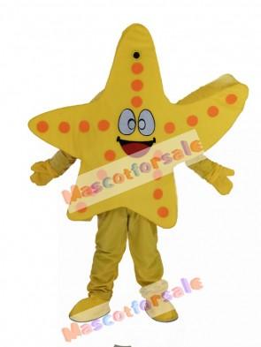 Smiling Yellow Starfish Mascot Costume