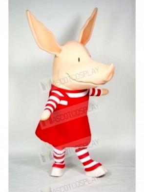 Pig in Red Dress Mascot Costumes Cartoon