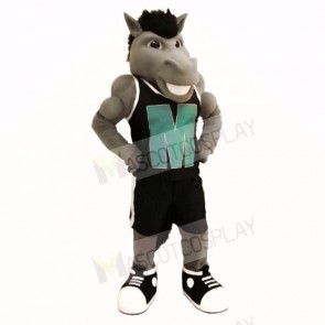 Grey Power Mustang with Black Shirt Mascot Costumes School