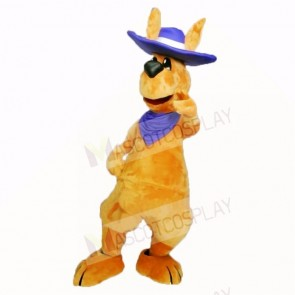 Friendly Adult Kangaroo with Blue Hat Mascot Costumes Adult