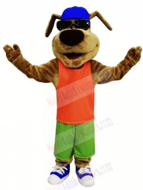 Happy Dog with Glasses Mascot Costumes Cartoon