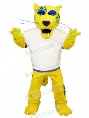 Yellow Jaguar with White T-shirt Mascot Costumes