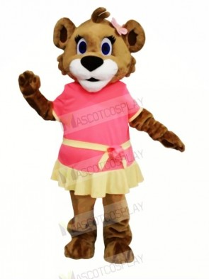 Female Lion with Dress Mascot Costumes Cartoon