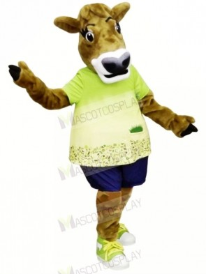 Gurt Cow with Green T-shirt Mascot Costumes