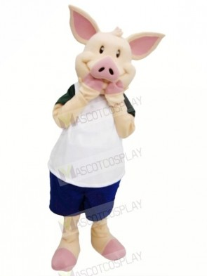 Pink Pig with White Suit Mascot Costumes Cheap