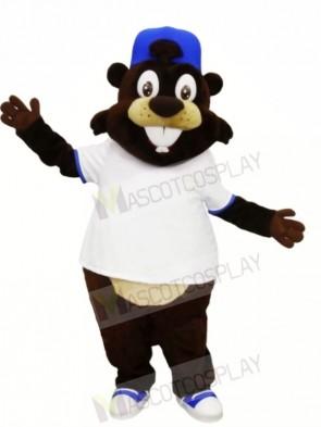 Smiling Beaver with White T-shirt Mascot Costumes Animal
