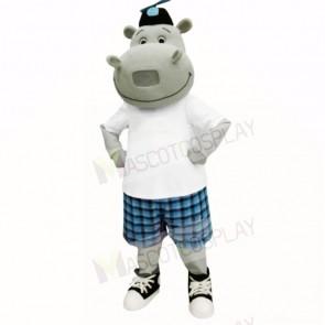 Sunny Hippo with White Shirt Mascot Costumes Cartoon