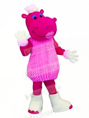 Pink Hippo in Dress Mascot Costumes Cartoon