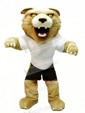 Fierce Wildcat with White T-shirt Mascot Costumes