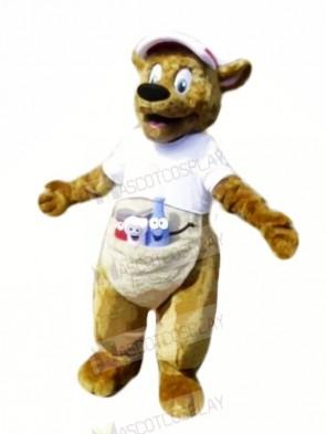 Brown Kangaroo with White T-shirt Mascot Costumes