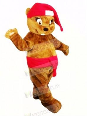 Cute Brown Christmas Beaver Mascot Costumes Animal