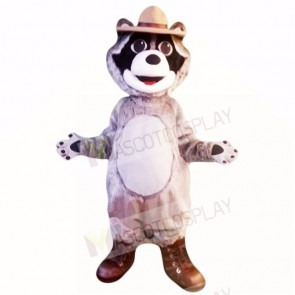 Grey Raccoon with Hat Mascot Costumes Cartoon