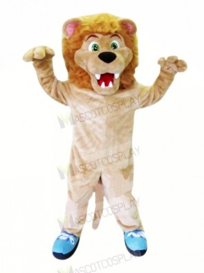 Fierce Lion with Blue Shoes Mascot Costumes Adult