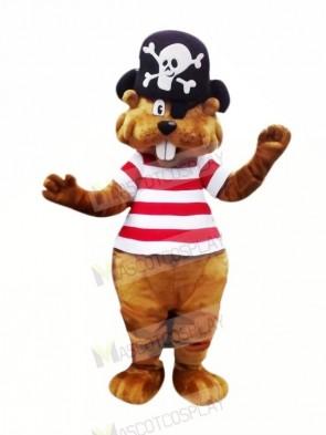 Pirate Brown Beaver Mascot Costume Cartoon