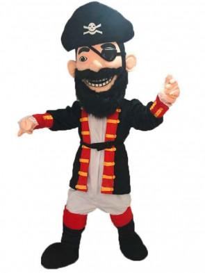 Redbeard Pirate Mascot Costume with Black Hat