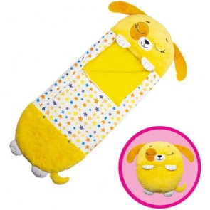 Happy Nappers Pillow & Sleepy Sack 2 in 1 Kids Foldable Sleeping Bag with Pillow Cartoon Animals Yellow Dog