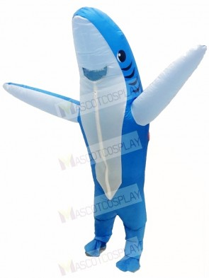 Blue Shark Inflatable Halloween Xmas Blow Up Costumes for Adults