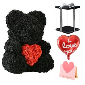 Black Rose Teddy Bear Flower Bear with Red Heart Best Gift for Mother's Day, Valentine's Day, Anniversary, Weddings and Birthday
