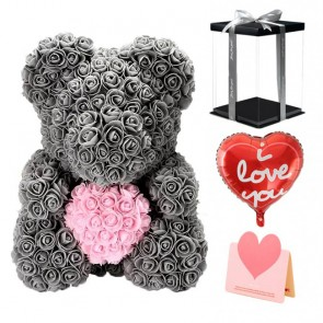 Gray Rose Teddy Bear Flower Bear with Pink Heart Best Gift for Mother's Day, Valentine's Day, Anniversary, Weddings and Birthday