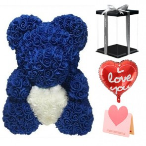 Deep Blue Rose Teddy Bear Flower Bear with White Heart Best Gift for Mother's Day, Valentine's Day, Anniversary, Weddings and Birthday