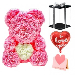 Light Rose Pink Teddy Bear Flower Bear with White Heart Best Gift for Mother's Day, Valentine's Day, Anniversary, Weddings and Birthday