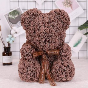 Brown Rose Teddy Bear Flower Bear Best Gift for Mother's Day, Valentine's Day, Anniversary, Weddings and Birthday