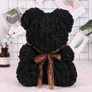 Black Rose Teddy Bear Flower Bear Best Gift for Mother's Day, Valentine's Day, Anniversary, Weddings and Birthday