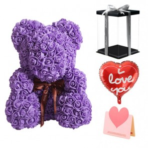 Purple Rose Teddy Bear Flower Bear Best Gift for Mother's Day, Valentine's Day, Anniversary, Weddings and Birthday