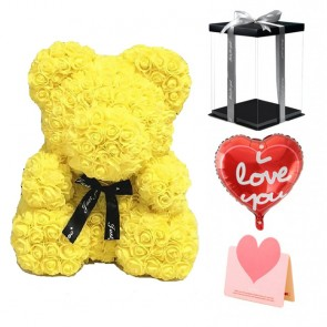 Yellow Rose Teddy Bear Flower Bear Best Gift for Mother's Day, Valentine's Day, Anniversary, Weddings and Birthday