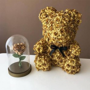 Golden Rose Teddy Bear Flower Bear Best Gift for Mother's Day, Valentine's Day, Anniversary, Weddings and Birthday
