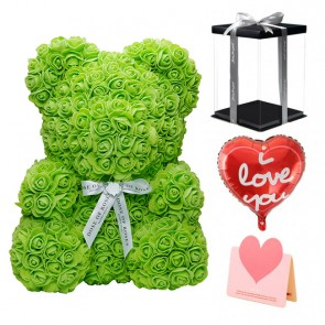 Green Rose Teddy Bear Flower Bear Best Gift for Mother's Day, Valentine's Day, Anniversary, Weddings and Birthday