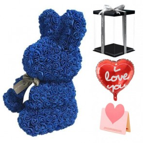 Blue Rose Rabbit Flower Rabbit Best Gift for Mother's Day, Valentine's Day, Anniversary, Weddings and Birthday