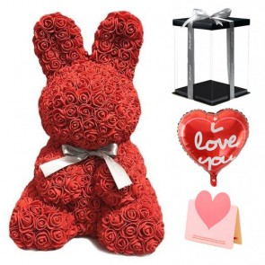 Red Rose Rabbit Flower Rabbit Best Gift for Mother's Day, Valentine's Day, Anniversary, Weddings and Birthday