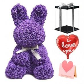 Purple Rose Rabbit Flower Rabbit Best Gift for Mother's Day, Valentine's Day, Anniversary, Weddings and Birthday