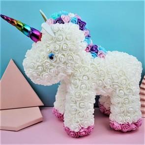 White Rose Unicorn Flower Unicorn Best Gift for Mother's Day, Valentine's Day, Anniversary, Weddings and Birthday