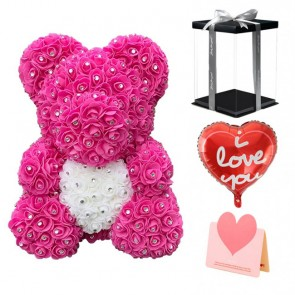 Diamond Pink Rose Teddy Bear Flower Bear with White Heart Best Gift for Mother's Day, Valentine's Day, Anniversary, Weddings and Birthday