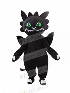 Black Dragon with Green Eyes Mascot Costumes Cartoon
